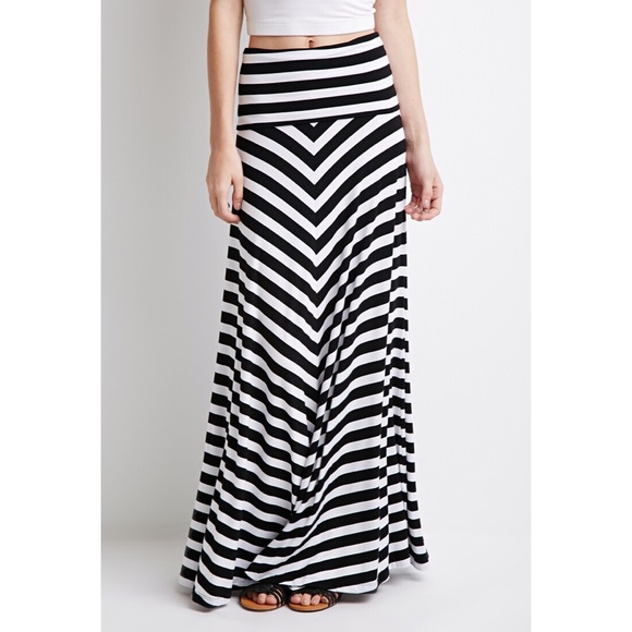 dd99203904 Forever 21 Dresses & Skirts - Forever 21 Black and white Striped Long Skirt  XS